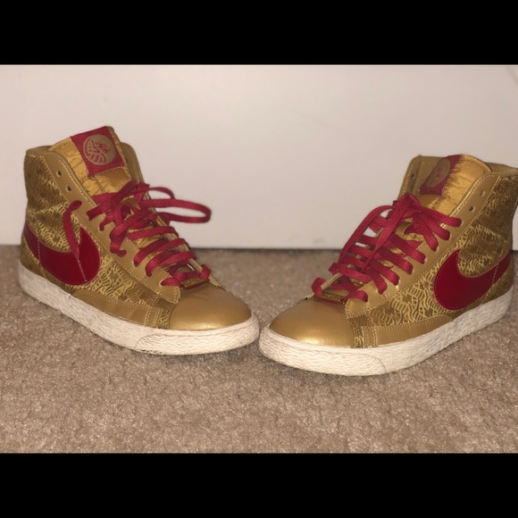 Nike Shoes | Nike Gold And Red High